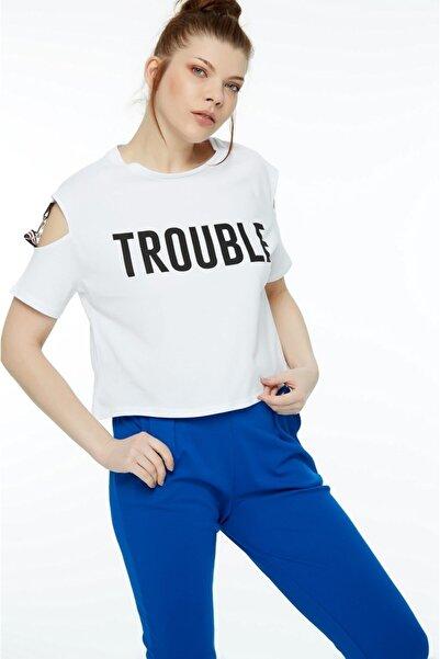 Fulla Moda Kadın Beyaz  Baskılı T-Shirt