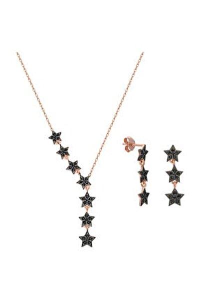 Kadın Pembe Kayan Yıldızlar Gümüş Kolye Küpe Seti Ef09rs