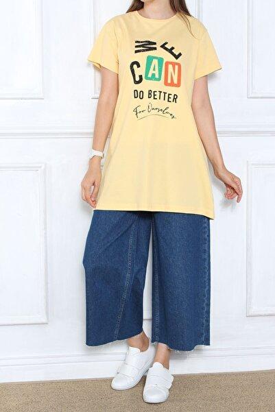 ALLDAY Kadın Sarı Baskılı Kısa Kol T-shirt