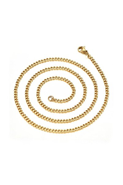 Chavin Kadın Sarı Altın Traşlı 70 cm 3 mm Çelik Zincir De92sr