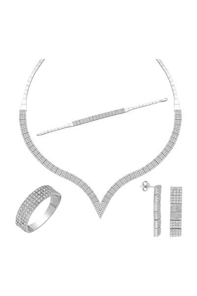 Chavin Kadın Beyaz Dört Sıra Su Yolu Gümüş Kolye Küpe Bileklik Yüzük Set dz29