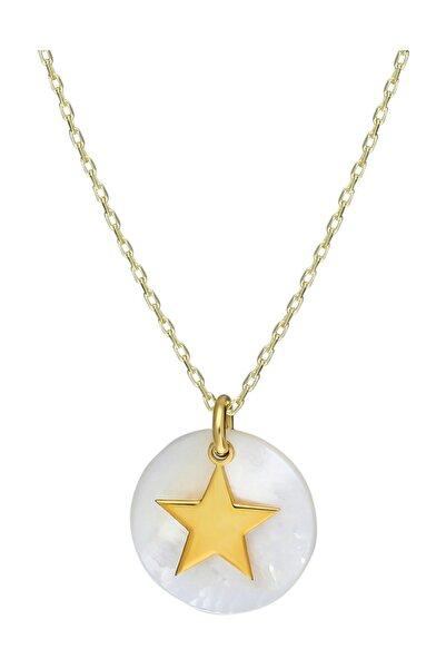 Chavin Kadın Altın Sedef Üzeri Yıldız Gümüş Kolye Eb17