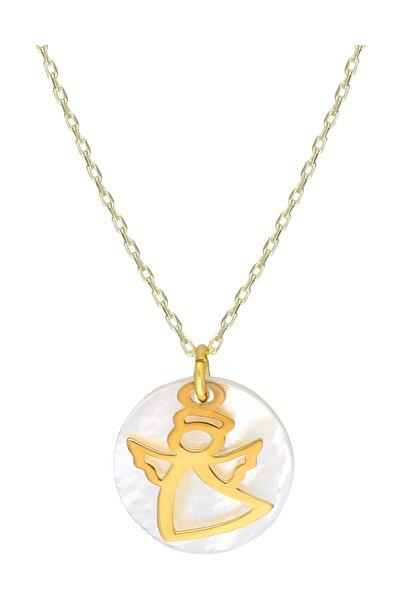 Chavin Kadın Altın Sedef Üzeri Melek Gümüş Kolye eb18
