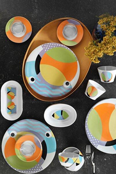 Kütahya Porselen Turuncu 36 Parça Desenli Kahvaltı Takımı 10955