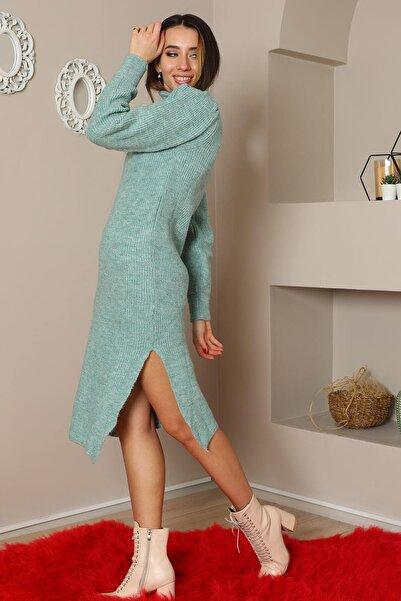 NİCE Yırtmaç Detaylı Triko Elbise