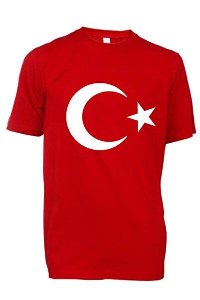 MAG DESIGN Unisex Kırmızı Ay Yıldız Türk Bayraklı Tişört