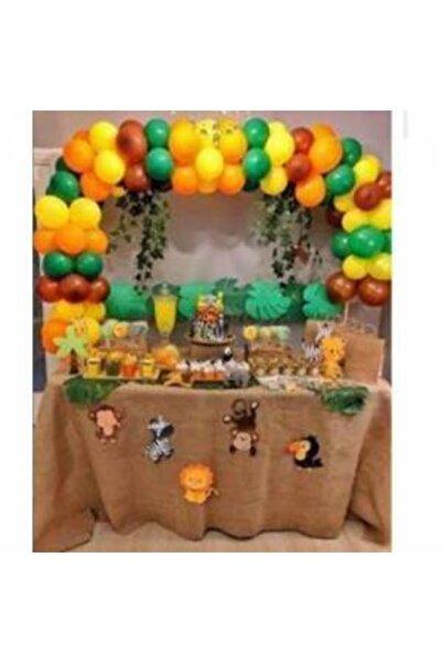 MERİ PARTİ Safari Temalı Set Safari Metalik Renk Balon Çuval Masa Örtüsü Safari Mısır Kutusu Kürdan