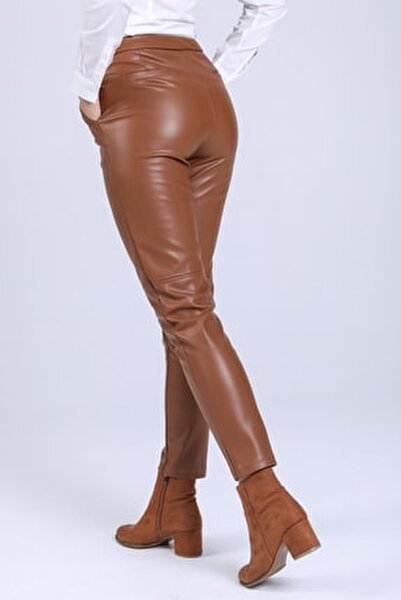 Kadin Kahverengi Içi Süet Deri Pantolon