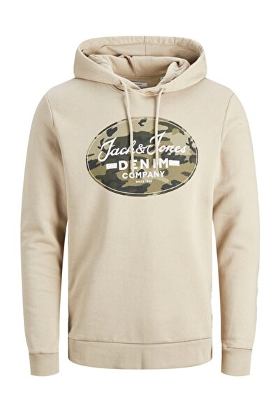 Jack & Jones Jack Jones Camoman Sweat Hood Erkek Bej Sweatshirt 12175093-06