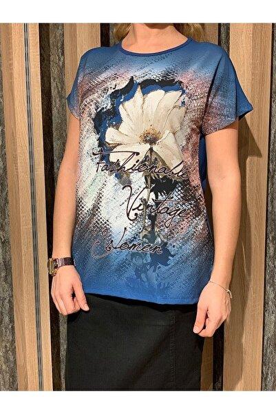 Elele Kadın Mavi Çiçekli Bluz