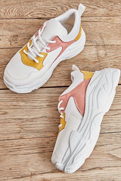 Bambi Pudra/sarı Kadın Sneaker