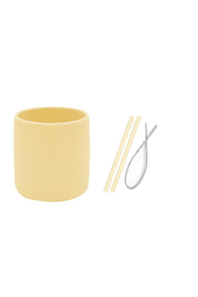 Oioi 3 Li Set Sarı (Silikon Bardak + 2 Li Silikon Pipet + Temizleyici Fırçası )