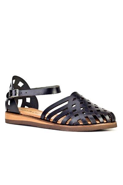 Cabani Lazer Detaylı Tokalı - Kadın Sandalet Siyah Deri