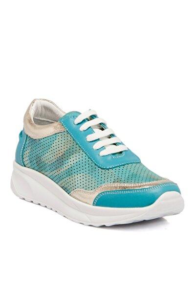 Tergan Mavi-kamuflaj Deri Kadın Ayakkabı 63730d2x