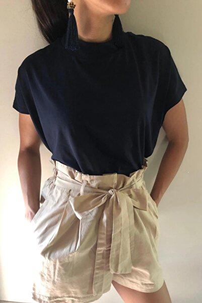 BASIC&CO Cate Dik Yaka Basic Lacivert T-shirt