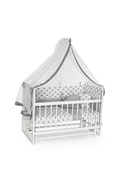 Bambidoo Beyaz 60x120 Anne Yanı Beşik Ahşap Sallanır Beşik 4 Kademeli - Gri Balina Uyku Setli Yataklı