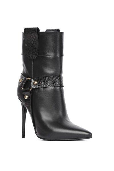 İLVİ Loka 2667 Bayan Topuklu Bot Siyah Deri - Siyah Baskı