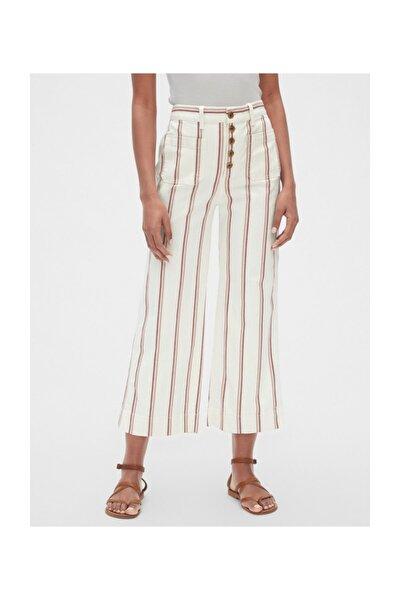 GAP Kadın Yüksek Bel Çizgili Wide-fit Pantolon