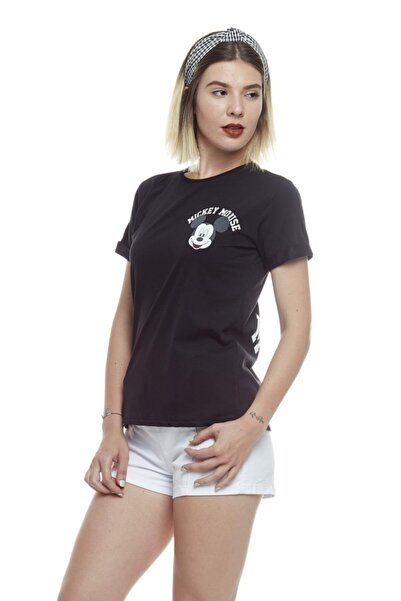TENA MODA Kadın Siyah Bisiklet Yaka Ön Arka Mickey Mouse Baskılı Tişört