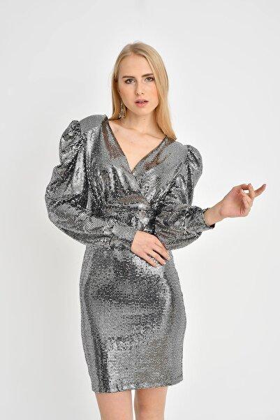 TENA MODA Kadın Gümüş Parlak Kabarık Kollu Elbise
