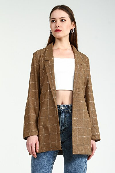 Collezione Kahverengi Kadın Kahverengi Spor Regular Ceket