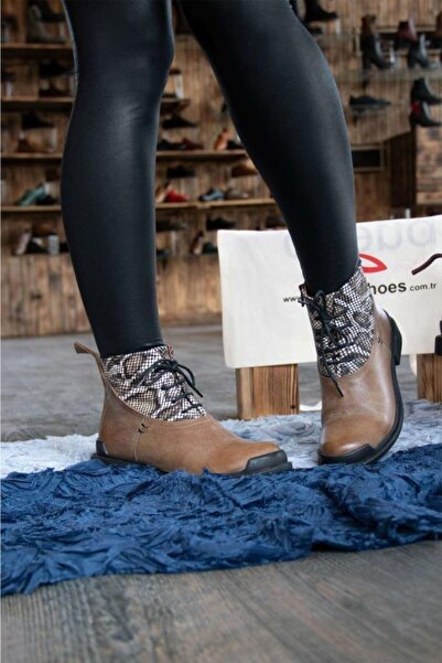 BUENO Shoes Fermuar Ve Desenli Hakiki Deri Kadın Düz Bot 9p7704