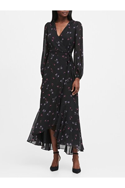 Banana Republic Kadın Siyah Maxi Anvelop Elbise