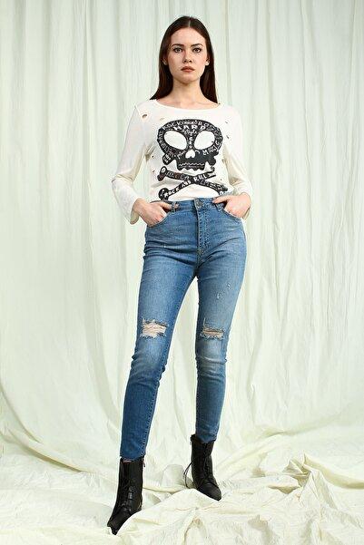 Collezione Açık Mavi Yüksek Bel Yırtıklı Kadın Skinny Jean Pantolon
