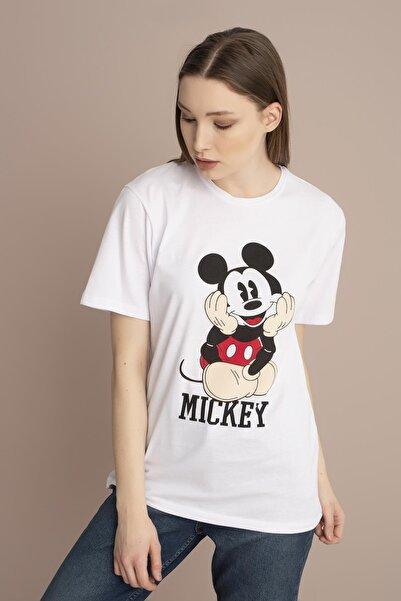 TENA MODA Kadın Beyaz Mickey Mouse Baskılı Tişört