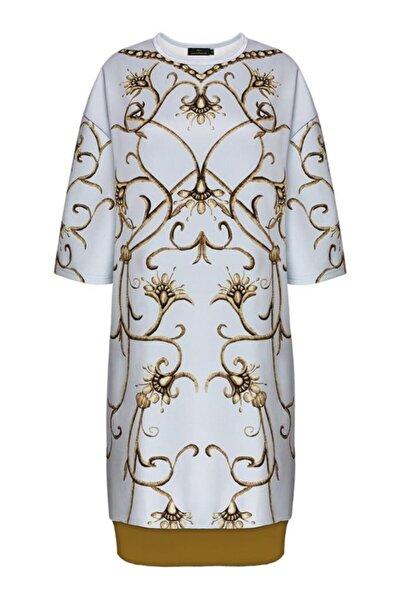 Faberlic Gri Yarım Kollu Monogram Elbise 46 Beden