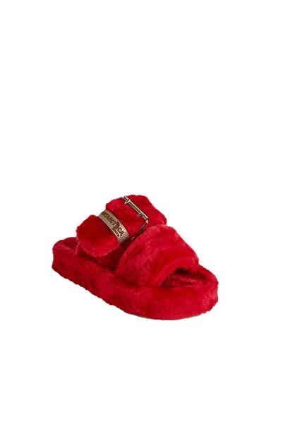Antarctica Boots Kürklü Toka Detaylı Eva Taban Süet Kırmızı Bayan Ev Terliği