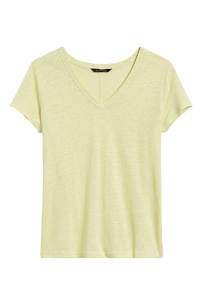 Banana Republic V Yaka Keten T-shirt