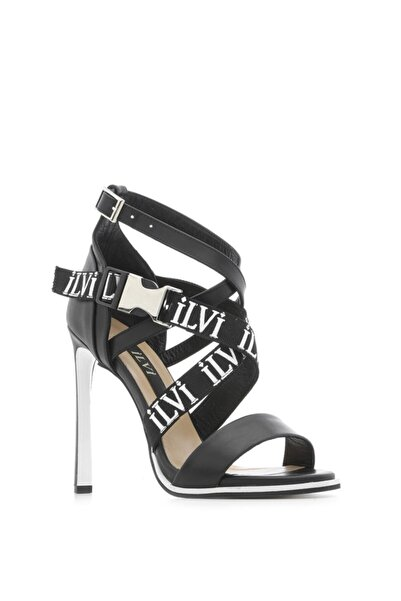 İLVİ Alana Bayan Sandalet Siyah Deri