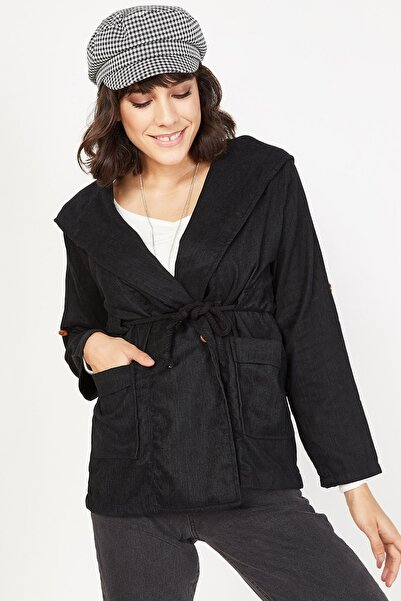 Lafaba Kadın Siyah Kapüşonlu Fitilli Kadife Ceket