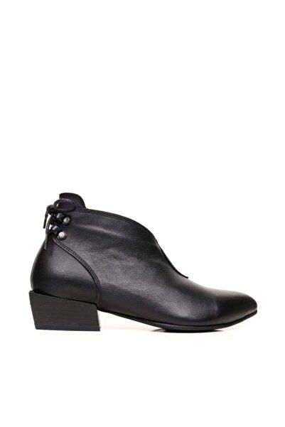 BUENO Shoes Fermuar Ve Bağcıklı Hakiki Deri Kadın Düz Bot 9p7102