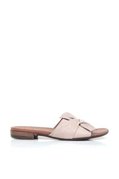 BUENO Shoes Fiyonk Detaylı Hakiki Deri Kadın Düz Terlik 9n0203