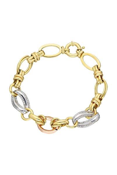 Chavin Hallow Altın Modeli Mikron Kaplama Gümüş Bileklik Ea74