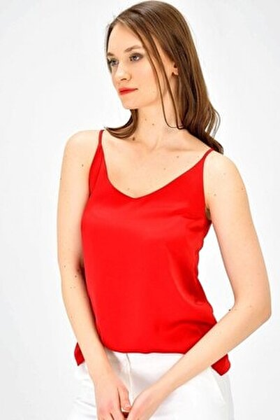 Ip Askılı Sırtı Çapraz Biyeli Şık Bluz -kırmızı