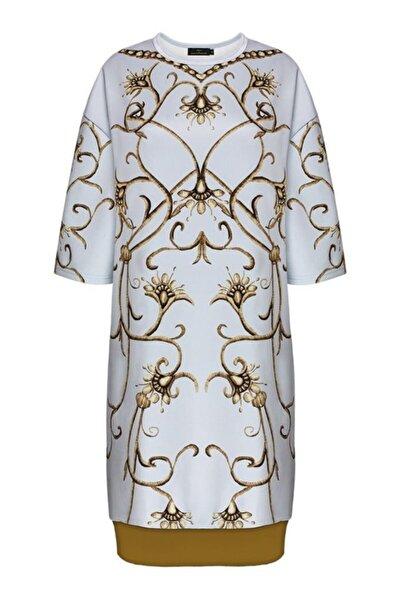Faberlic Gri Yarım Kollu Monogram Elbise 48 Beden