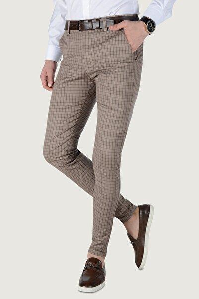 Terapi Men Erkek Çizgi Desenli Keten Pantolon 20k-2200231 Kahverengi