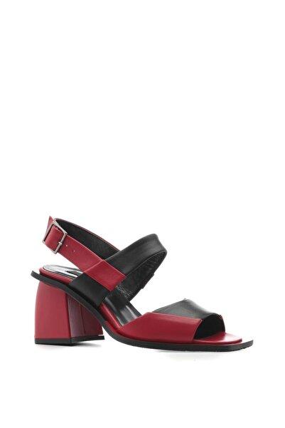 İLVİ Hukis Bayan Sandalet Kırmızı Deri - Siyah Deri