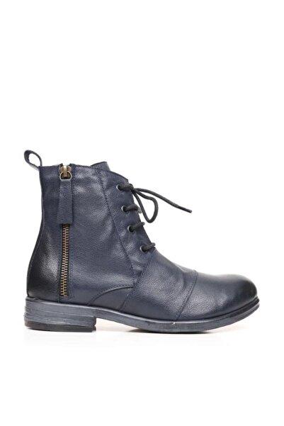 BUENO Shoes Önden Bant Detaylı Hakiki Deri Kadın Düz Bot 9p0813
