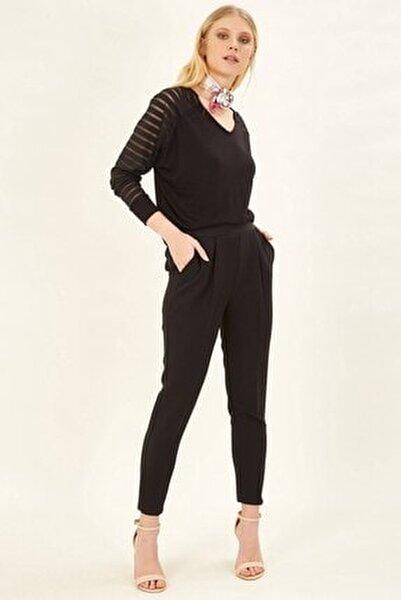 Pileli Lastikli Pantolon - Siyah
