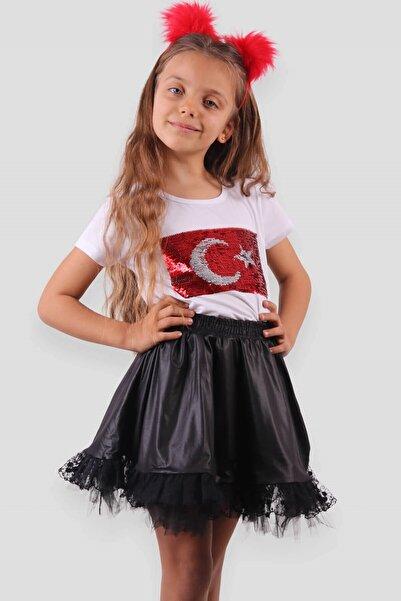 Breeze Kız Çocuk Tişört Pullu Ay Yıldızlı Beyaz (10-14 Yaş)