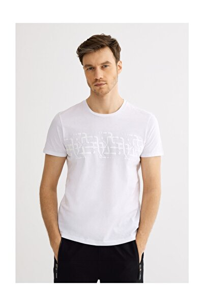 Avva Erkek Beyaz Bisiklet Yaka Baskılı T-shirt A01s1257