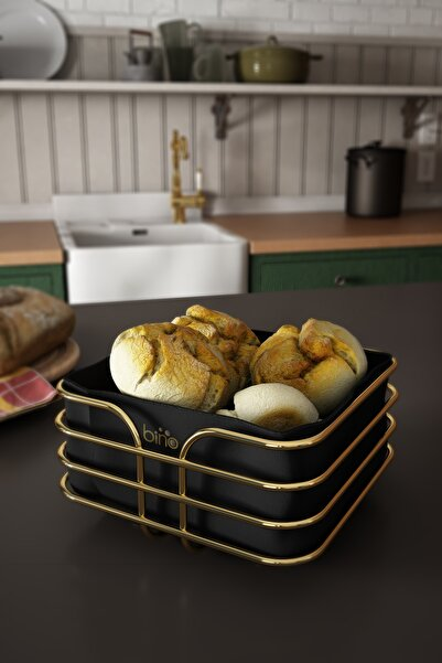 Bino Ekmeklik Ekmek Sepeti Çok Amaçlı Metal Kutu Lüx Gold Paslanmaz Sepet Siyah Kumaş