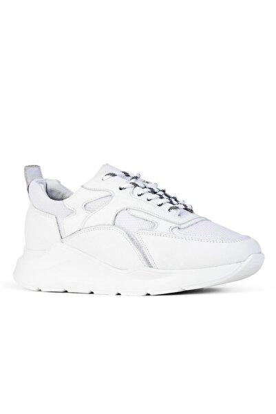 Cabani Priyanka C Özel Tasarım Light Taban Bağcıklı Klasik Kadın Ayakkabı Beyaz Keten