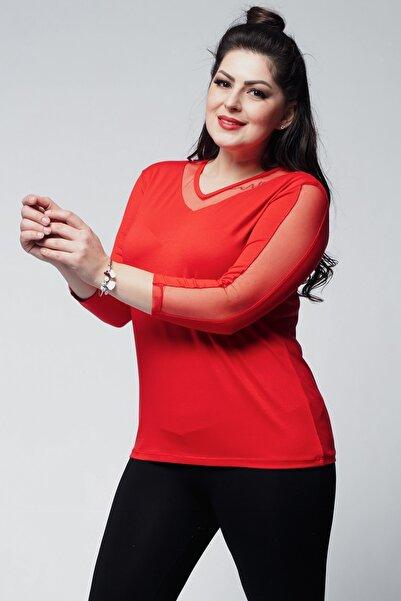 Ebsumu Kadın Büyük Beden Yaka, Sırt Ve Kolları Tül Detaylı V Yaka Kırmızı Bluz