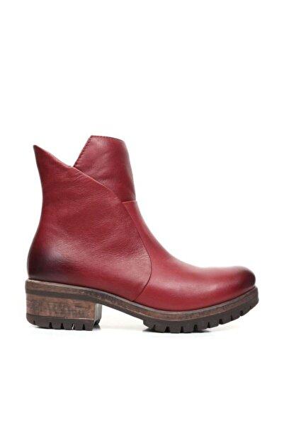 BUENO Shoes Fermuarlı Yakma Hakiki Deri Kadın Düz Bot 9p0505