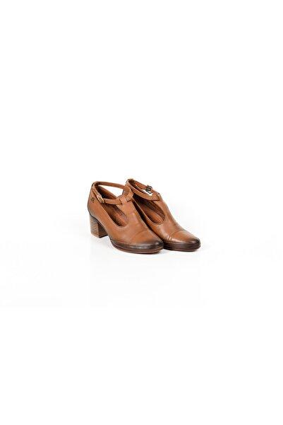 Venüs 2016001y- Hakiki Deri Kalın Topuklu Kadın Ayakkabı